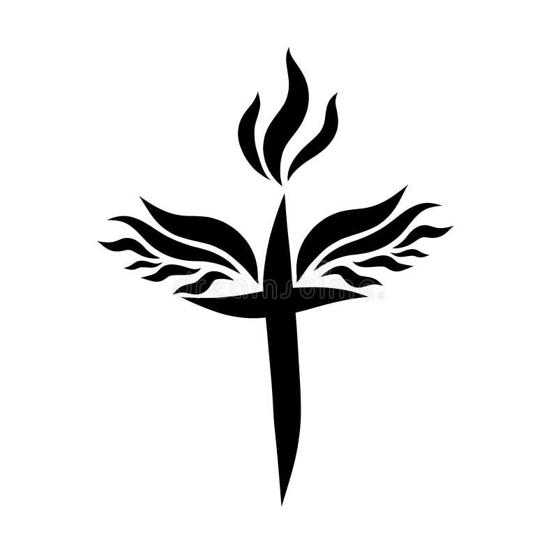Cruz cristiana coa alas con la llama, luz de la fe ilustración del vector