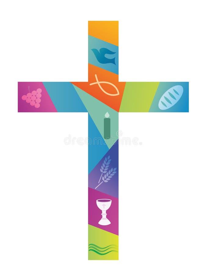 Cruz cristiana colorida con símbolos cristianos ilustración del vector