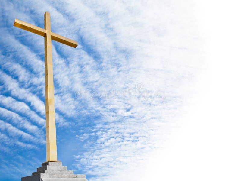 Cruz Cristiana Con El Fondo Del Cielo. Plantilla O Marco De La ...