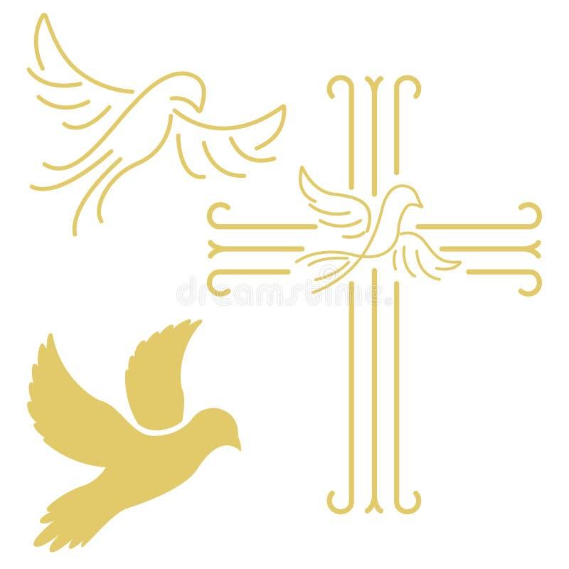 Cruz cristiana con la paloma en la línea estilo aislada en los vagos blancos stock de ilustración