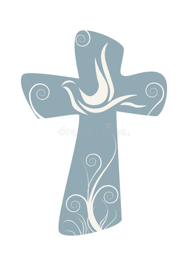 Cruz cristiana con la paloma muestra religiosa stock de ilustración