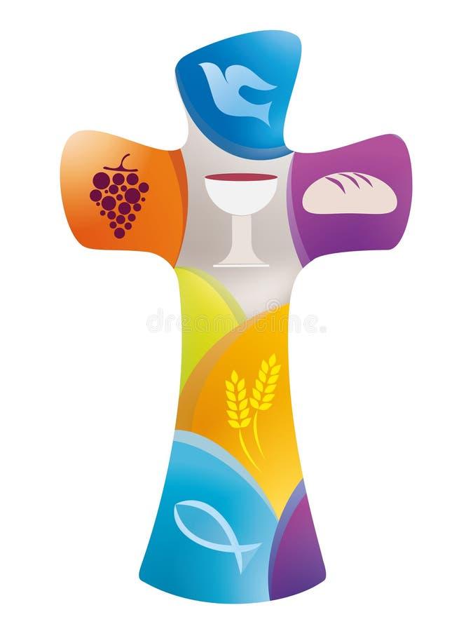 Cruz cristiana con la paloma, la uva, la cáliz, el pan, oídos del trigo y pescados en fondo coloreado stock de ilustración