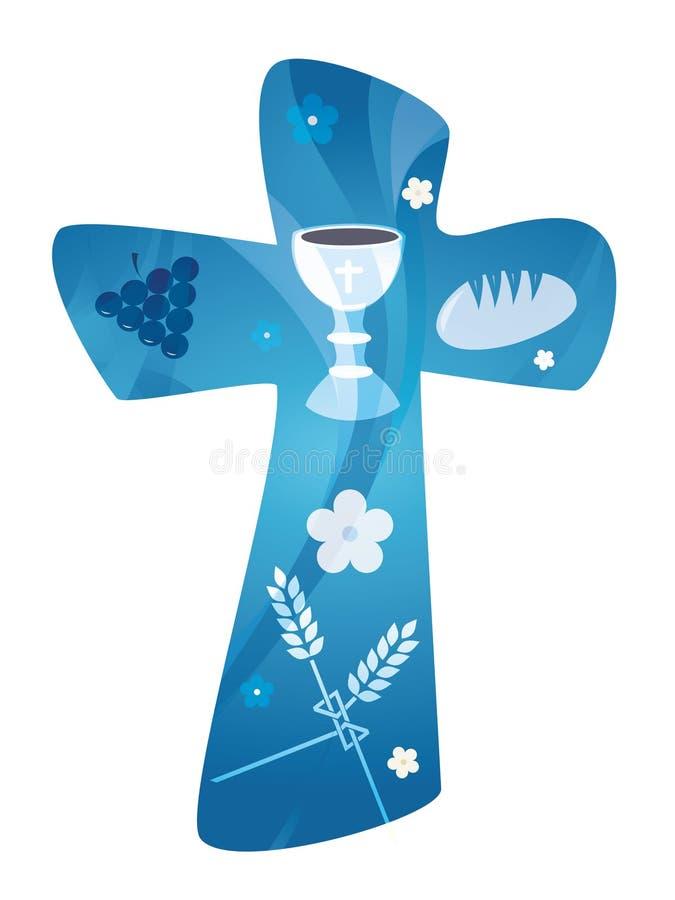 Cruz cristiana con las uvas pan de la cáliz y el oído del trigo Exposición múltiple stock de ilustración
