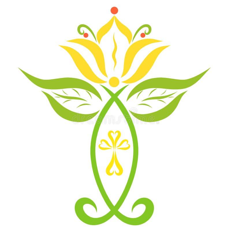 Cruz cristiana creativa de pescados, del lirio y de hojas simbólicos stock de ilustración
