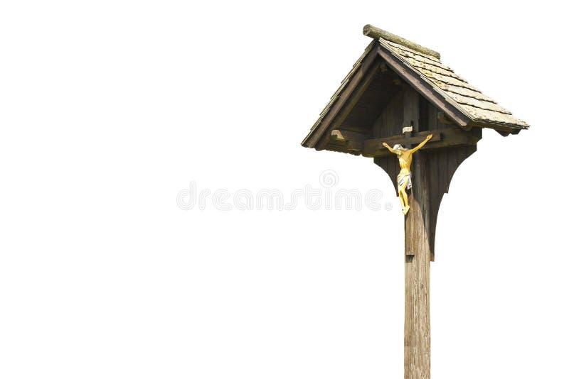 Cruz cristiana de madera contra un fondo blanco para el selec fácil fotografía de archivo libre de regalías