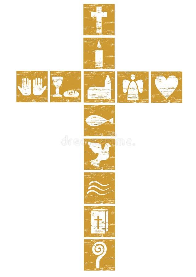Cruz cristiana de oro stock de ilustración