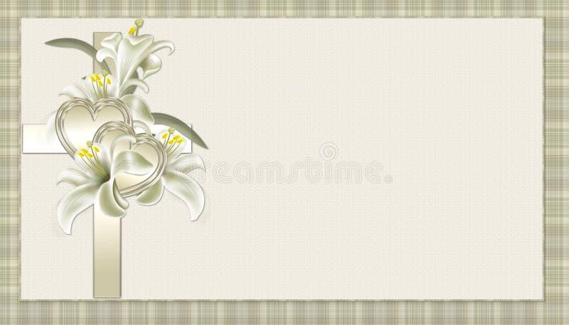 Cruz cristiana del oro con el fondo de las flores stock de ilustración