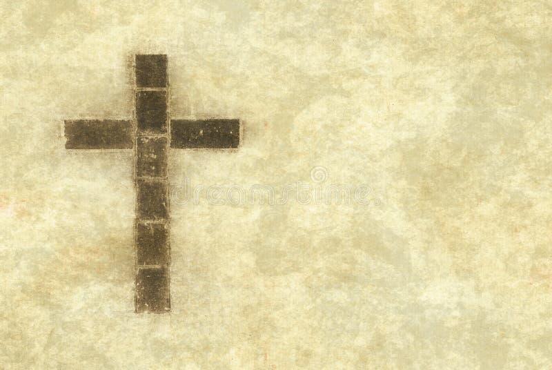 Cruz cristiana en el pergamino stock de ilustración