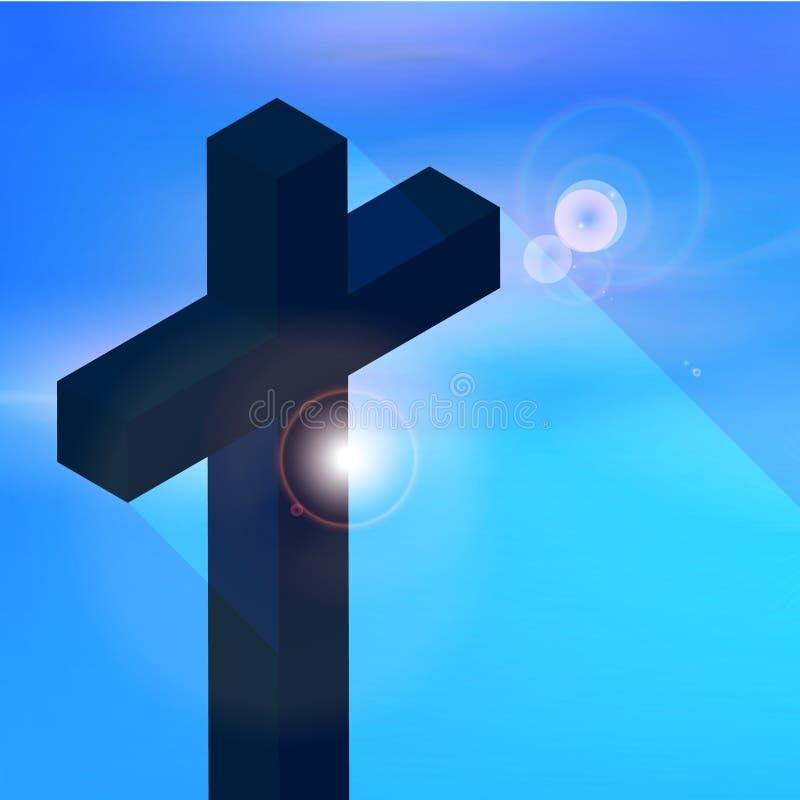 Cruz cristiana, religión stock de ilustración
