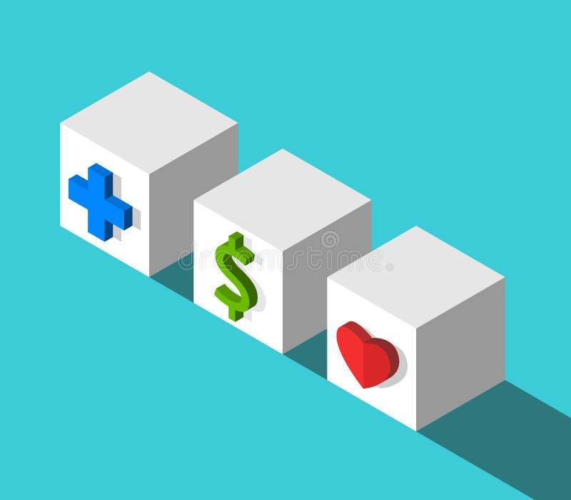 Cruz, dólar, cubos del corazón ilustración del vector