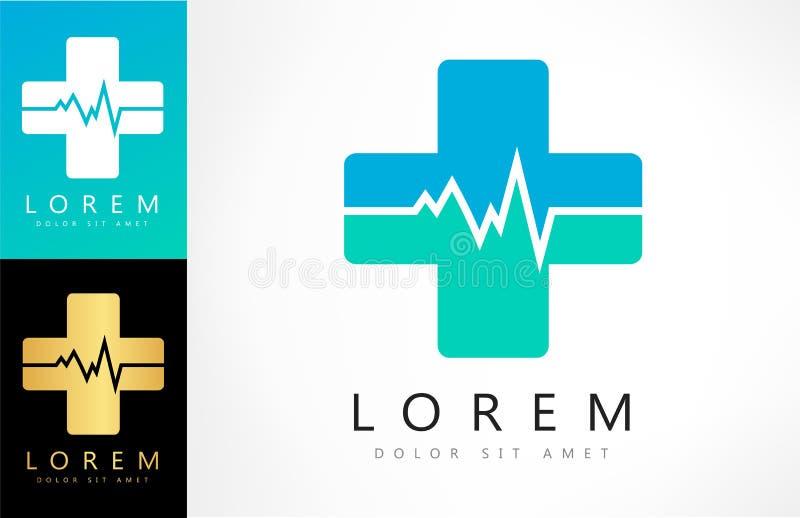 Cruz da ajuda ou vetor do logotipo da farmácia heartbeat ilustração stock