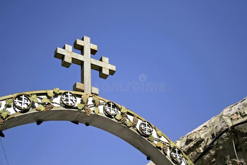 Cruz da igreja de jerusalem imagem de stock