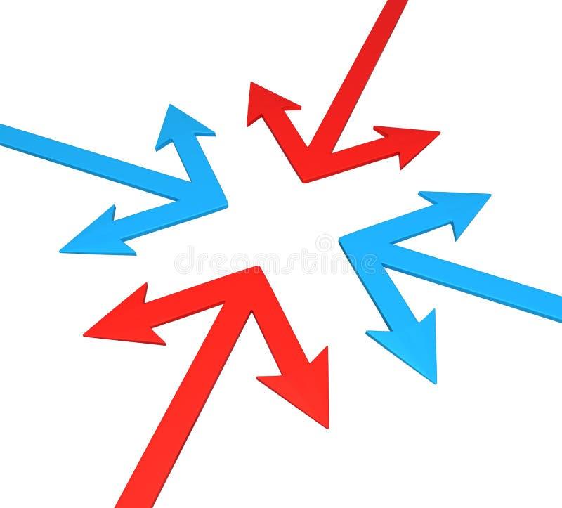 Cruz da separação do ângulo da seta ilustração stock
