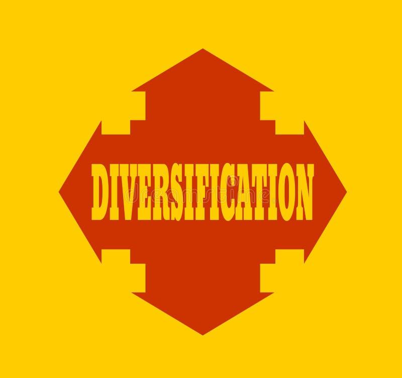 Cruz da seta com diversificação da palavra ilustração stock