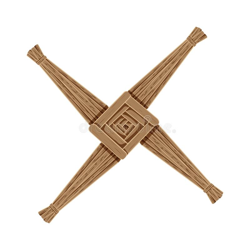 Cruz de Brigids feita da palha marrom Elemento isolado de Wiccan símbolo pagão ilustração do vetor