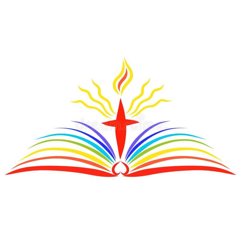 Cruz de brilho com uma chama sobre um livro aberto do arco-íris, a Bíblia ilustração royalty free