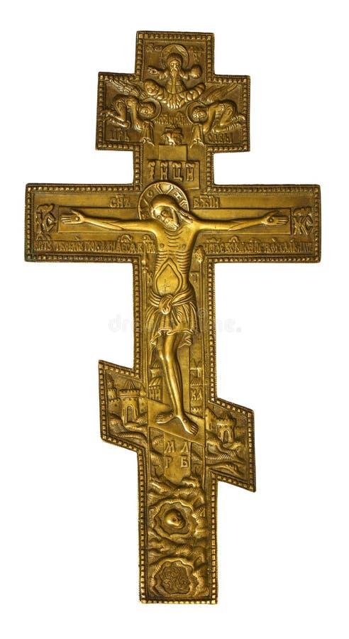 Cruz de bronce antigua con Cristo crucificado fotografía de archivo libre de regalías