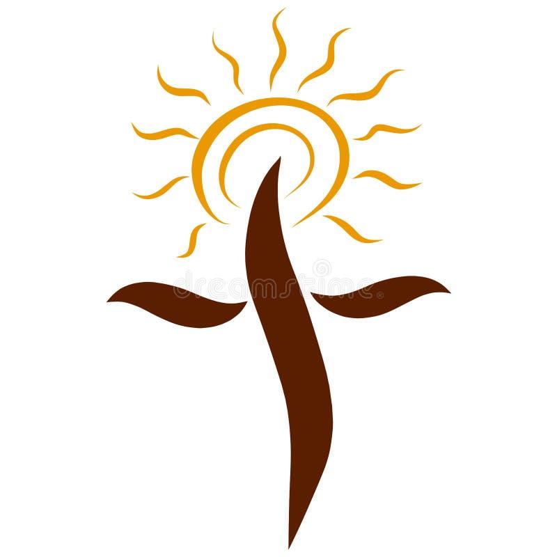 Cruz de Brown con el sol brillante amarillo, luz de la verdad libre illustration