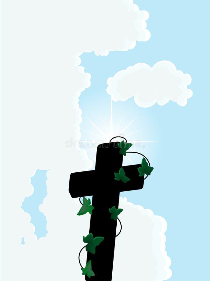 Cruz de encontro ao céu ilustração stock