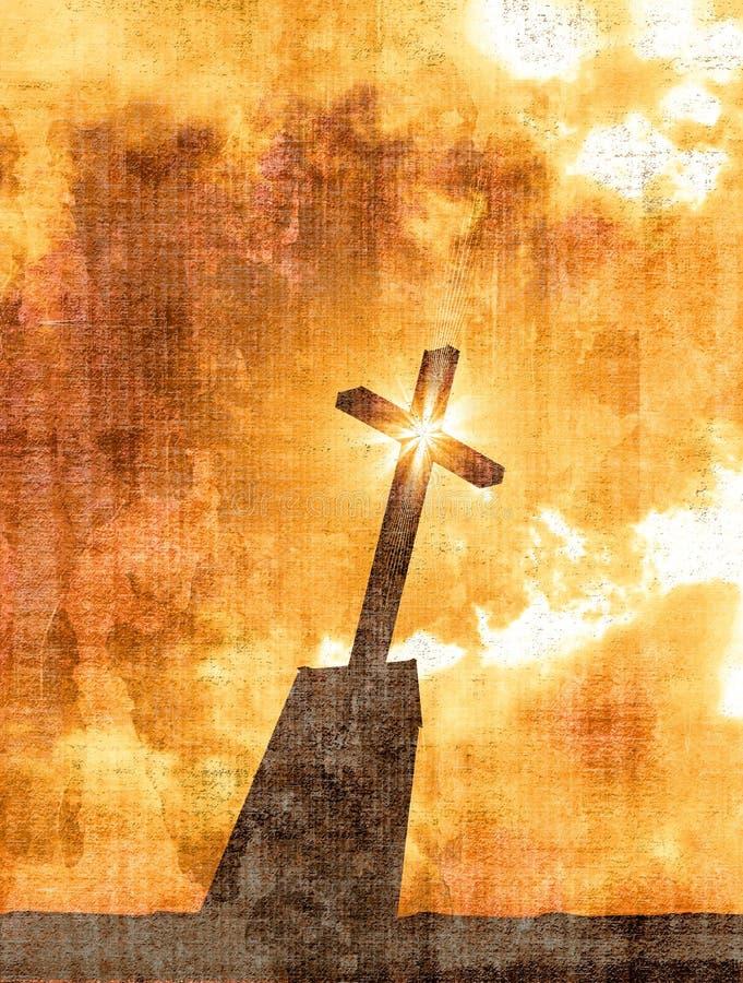 Cruz de Grunge con efecto de la estrella ilustración del vector