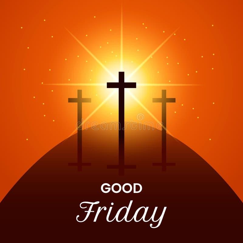 Cruz de Jesus Christ en el Calvary del soporte Ejemplo moderno de una bandera del sufrimiento y resurrección de Jesús Concepto de stock de ilustración