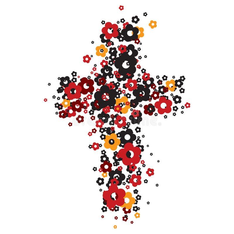Cruz de la flor stock de ilustración