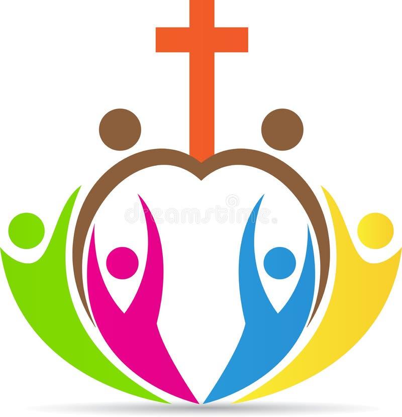 Cruz de la gente del cristianismo stock de ilustración