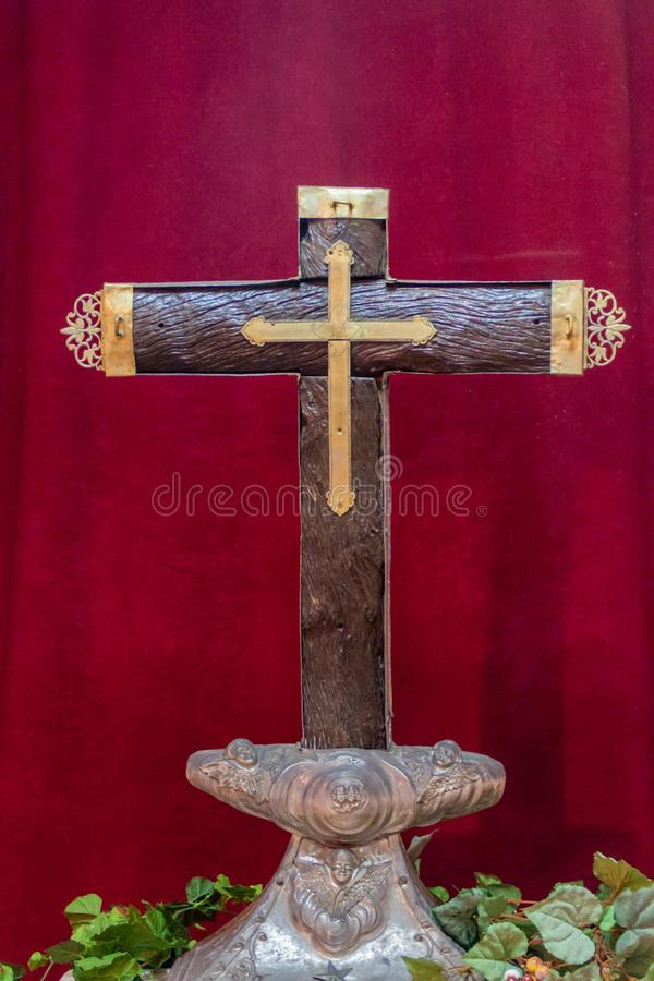 Cruz de la Parra, wooden cross erected by Columbus. Located in the cathedral of Baracoa, Cub. A stock photography