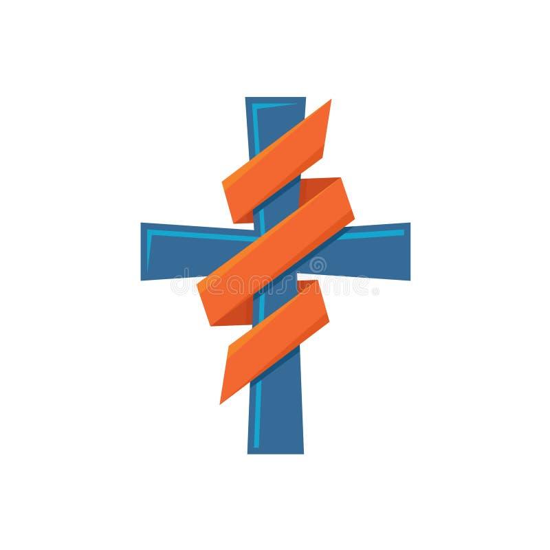 Cruz de la religión con la cinta decorativa alrededor del logotipo colorido stock de ilustración