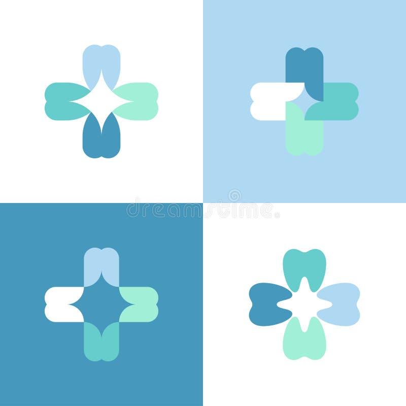 Cruz de los dientes Vector la plantilla o el icono del logotipo para la clínica dental stock de ilustración