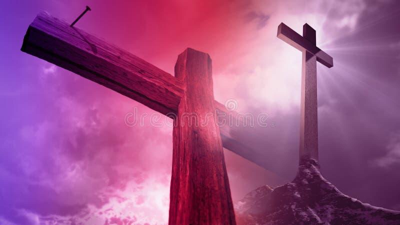 A cruz de madeira contra o céu com brilho irradia ilustração do vetor