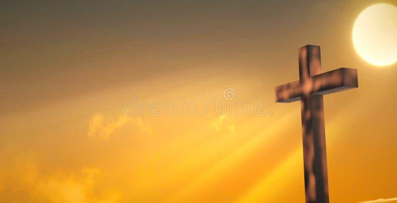 Cruz de madeira contra o céu ilustração do vetor