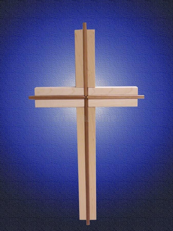 Cruz De Madeira No Azul Fotos de Stock Royalty Free