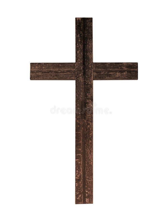 Cruz de madeira rústica velha isolada no fundo branco Fé cristã fotografia de stock royalty free