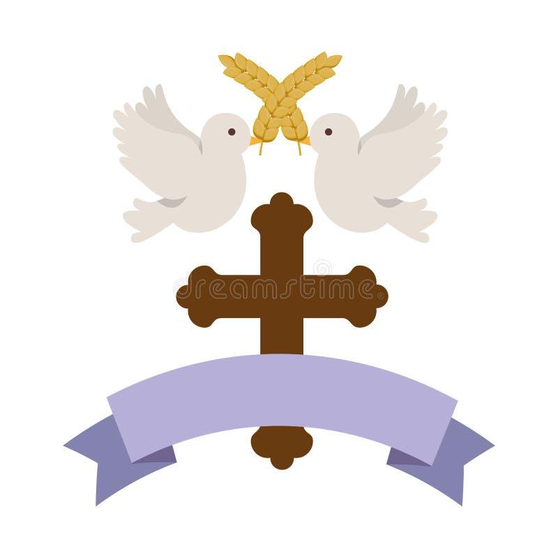 Cruz de madera de la primera comunión con las palomas ilustración del vector