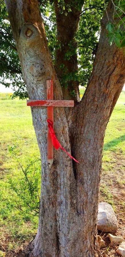 Cruz de madera roja clavada a las marcas Gravesite del árbol foto de archivo libre de regalías