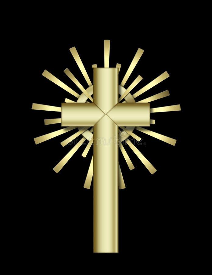 Cruz de oro ilustración del vector