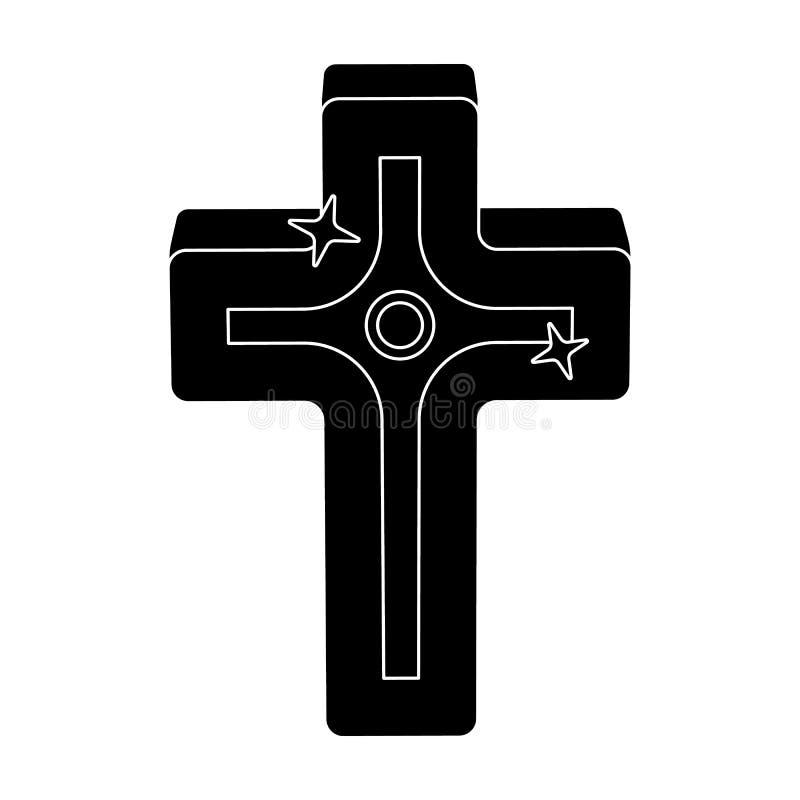 Cruz de oro Solo icono de Pascua en el ejemplo negro de la acción del símbolo del vector del estilo stock de ilustración