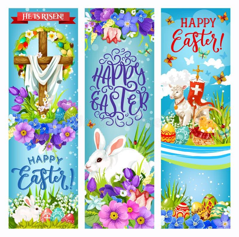Cruz de Pascua con los huevos, los conejitos, el polluelo y las flores ilustración del vector