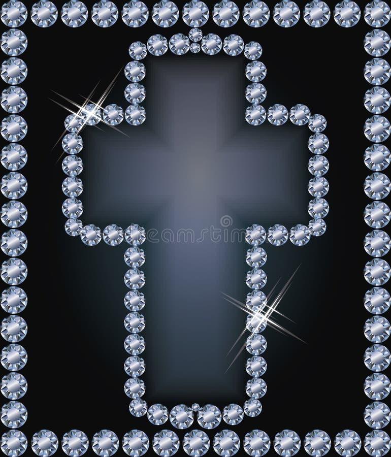 Cruz de Pascua del marco del diamante, vector stock de ilustración