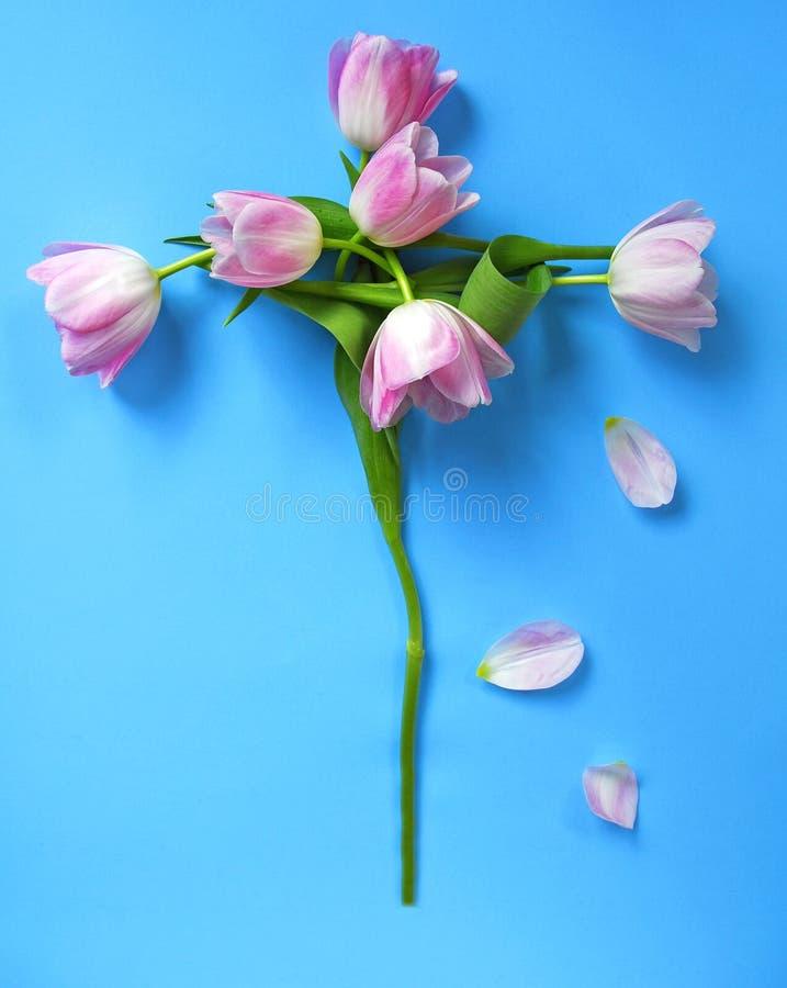 Cruz de Pascua del tulipán imágenes de archivo libres de regalías