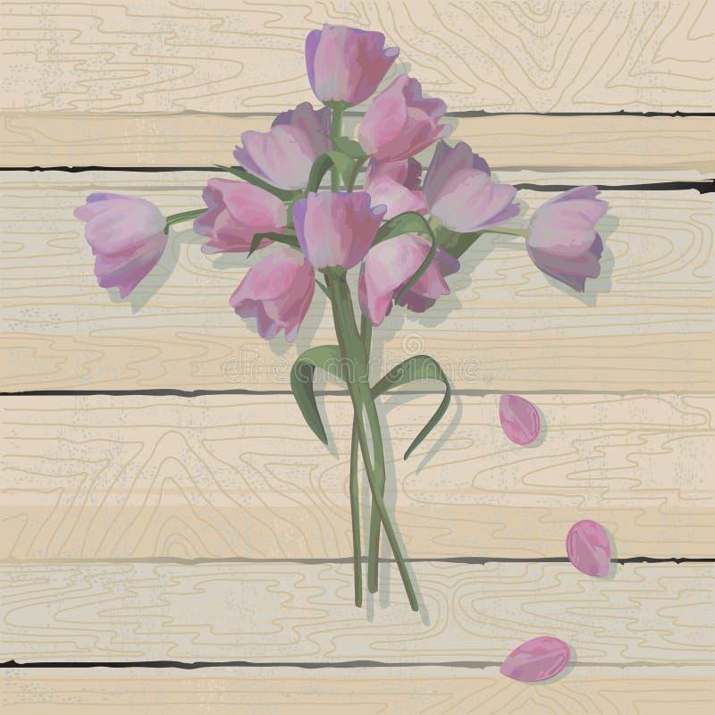 Cruz de Pascua del tulipán en un fondo de madera resistido stock de ilustración