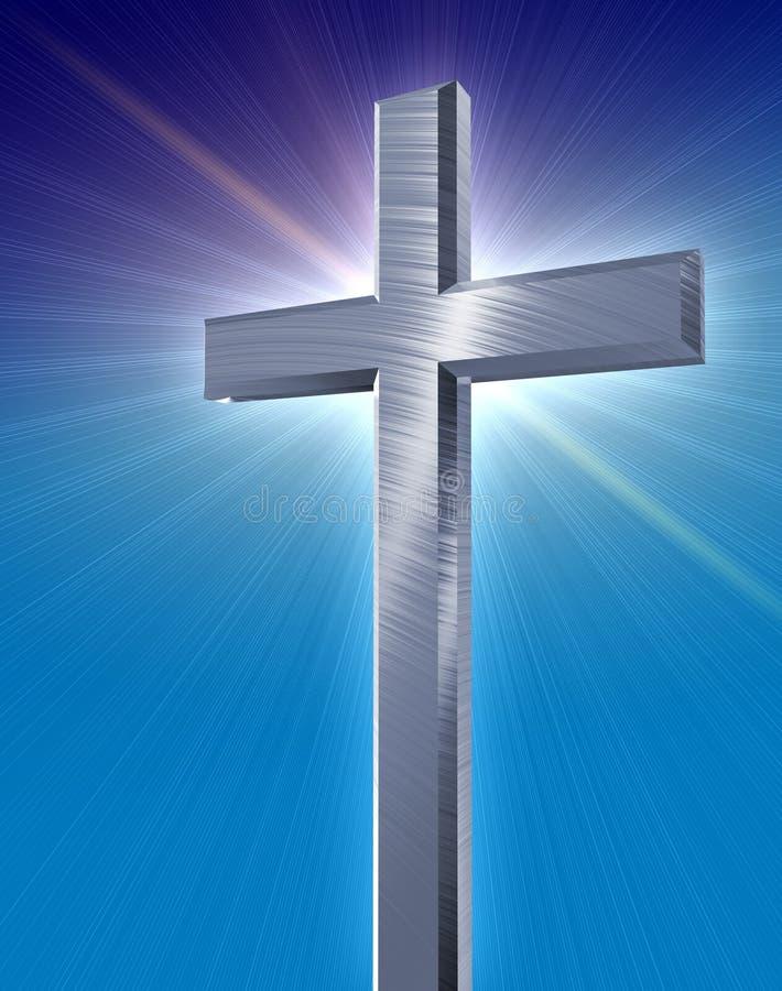 Cruz de plata cristiana stock de ilustración