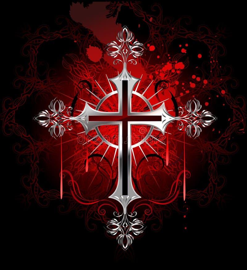 Cruz de prata gótico ilustração royalty free