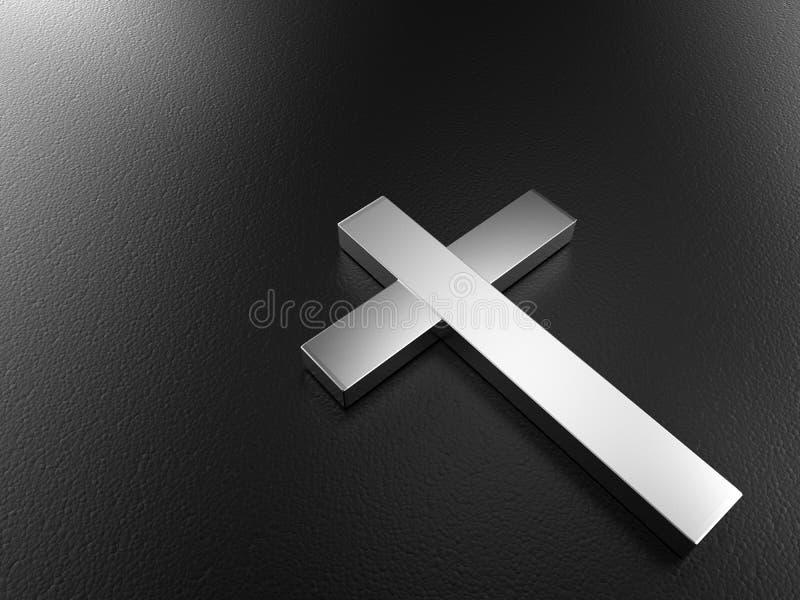 Cruz de prata no fundo preto com trajeto de grampeamento ilustração do vetor