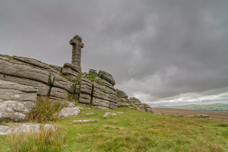Cruz de Widgery em Brat Tor Dartmoor imagens de stock royalty free