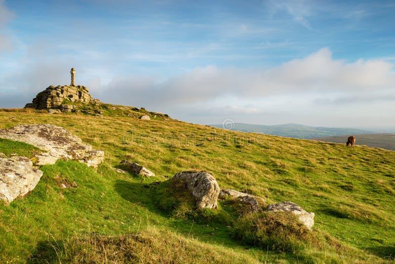 Cruz de Widgery em Dartmoor fotos de stock royalty free