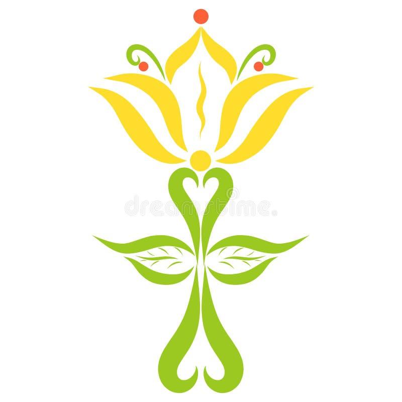 Cruz decorativa con el lirio y las hojas, modelo stock de ilustración