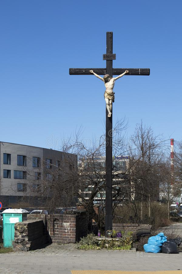 Cruz del arrabio con la figura del Cristo crucificado fotos de archivo libres de regalías