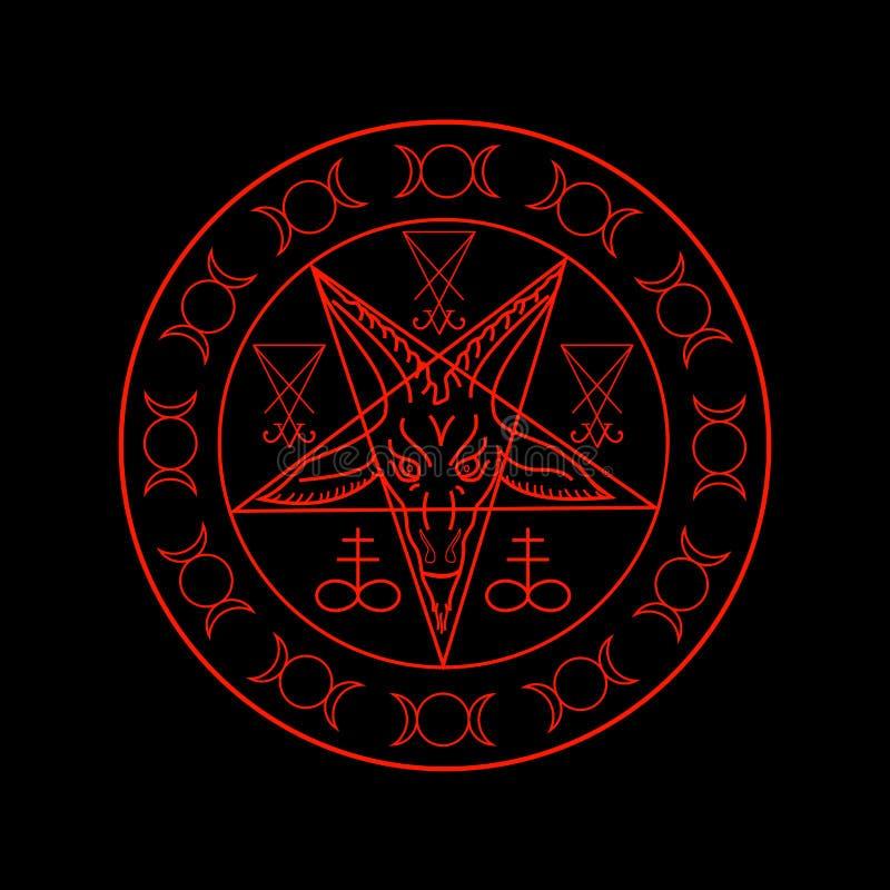 Cruz del azufre, diosa triple, Sigil de Baphomet y de Lucifer stock de ilustración